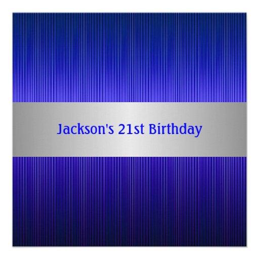 Masculine Silver Blue Stripe 21st Birthday Invitation