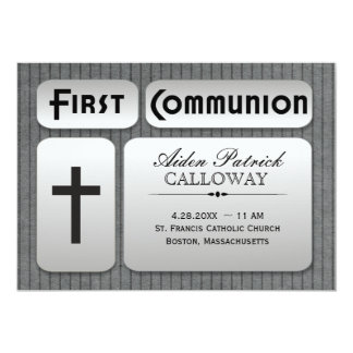 Masculine Silver Gray Pinstripes First Communion 13 Cm X 18 Cm Invitation Card