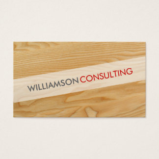 MASCULINE smart simple cool angled wood grain look Business Card