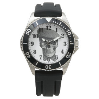 """Masculine steel clock """"Skull of hat """" Watch"""