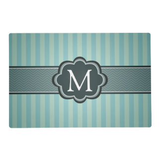 Masculine Teal Blue Stripes Custom Monogram Laminated Placemat