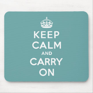 Masculine Teal Keep Calm and Carry On Mouse Mat