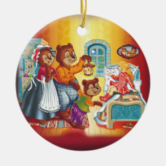 Masha and 3 bears ceramic ornament