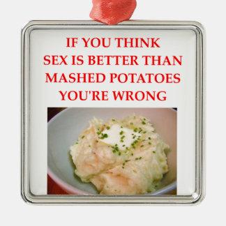 mashed potatoes metal ornament