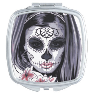 Mask Carnival Day of the Dead Floral Woman Travel Mirror