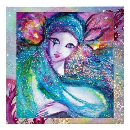 MASK IN BLUE Elegant Masquerade Party,Sapphire Gem Personalized Invite