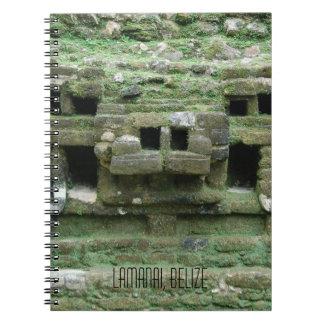 Mask of Maya Jaguar Temple Lamanai Belize Notebook
