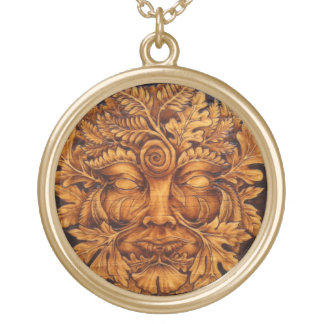 Mask of the Green Man Pendant - Large Gold