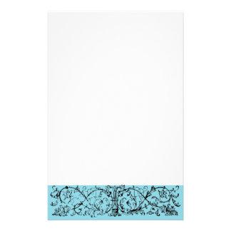 Mask Scroll Blue Stationery Design
