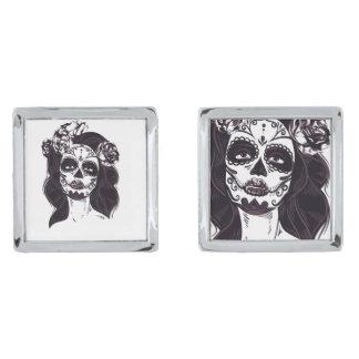 Mask Skull Silver Finish Cufflinks
