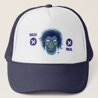 Mask - Vampire Zombie Monster Logo Lite Blue 2 Trucker Hat