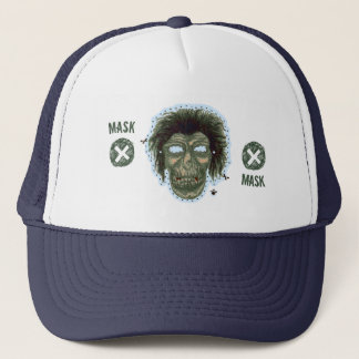 Mask - Vampire Zombie Monster Logo Lite Blue Trucker Hat