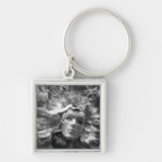 Masked Angel Silver-Colored Square Key Ring