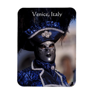Masked Carnival Character With Blue Feathers Hat Rectangular Photo Magnet