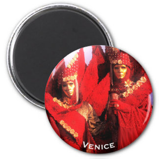 Masked Couple In Red Carnival Costumes Magnet