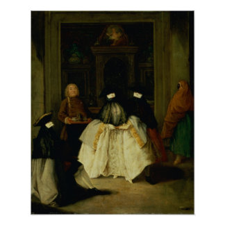 Masked Figures in a Venetian Coffee House Poster
