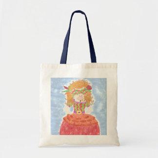 Masked girl kid library bag