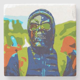 Masked man stone coaster