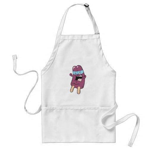 masked super villian hero grape ice pop apron