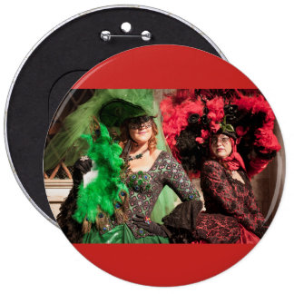 Masked women during the Venice carnival 6 Cm Round Badge