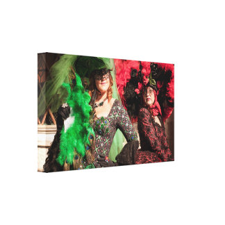 Masked women during the Venice carnival Canvas Print