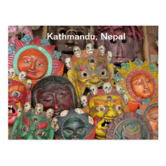 Masks at Boudhanath Postcard