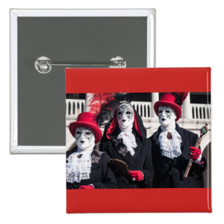 Masks during the Venice carnival 15 Cm Square Badge