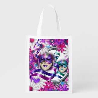 Masks on wild flower hearts reusable grocery bag