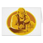 mason brick layer construction worker greeting card
