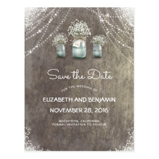 Mason Jar and Baby's Breath Rustic Save the Date Postcard