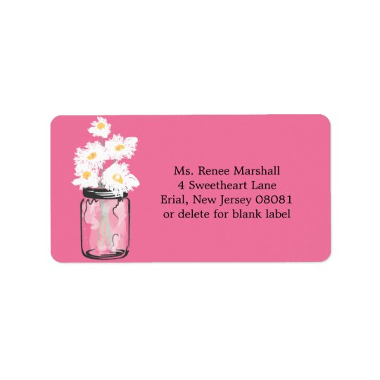 Mason Jar and Daisies Address Label