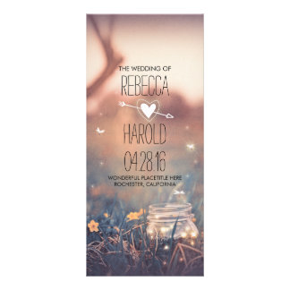 mason jar and fireflies rustic wedding programs rack card