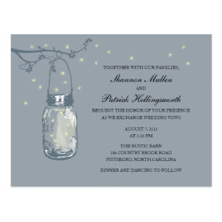 Mason Jar and Fireflies Wedding Invitations