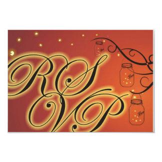 Mason Jar and Firefly Double Sided RSVP Orange Card