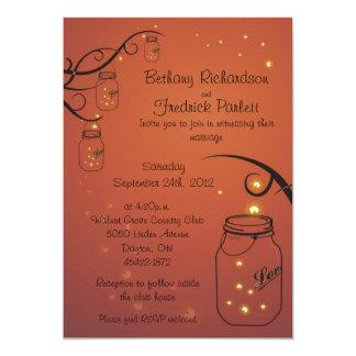 Mason Jar and Firefly Wedding Invitation - 5x7