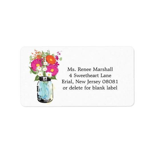 Mason Jar and Gerber Daisies Address Label