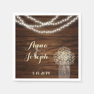 Mason jar and lights Wedding Napkin Disposable Serviette