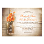 Mason jar and orange flowers wedding invitations cards