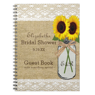 Mason Jar and Sunflower Bridal Shower Guest Book |