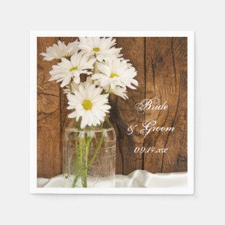 Mason Jar and White Daisies Barn Wedding Paper Napkins