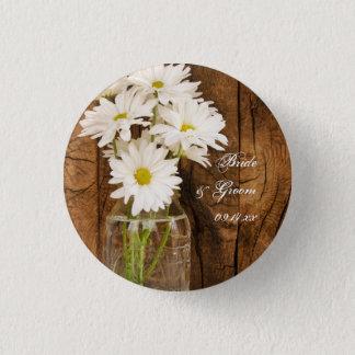 Mason Jar and White Daisies Country Barn Wedding 3 Cm Round Badge