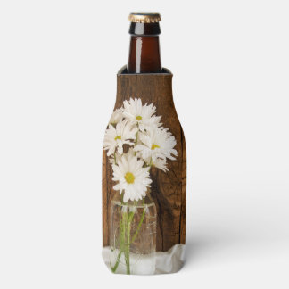 Mason Jar and White Daisies Country Barn Wedding Bottle Cooler