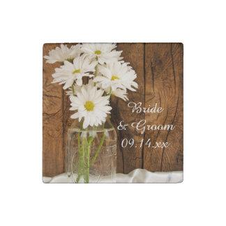 Mason Jar and White Daisies Country Barn Wedding Stone Magnet
