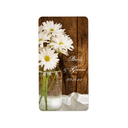 Mason Jar and White Daisies Country Wedding Label