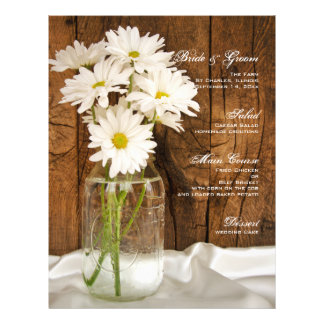 Mason Jar and White Daisies Country Wedding Menu Personalized Flyer