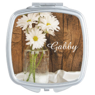 Mason Jar and White Daisies Wedding Travel Mirror