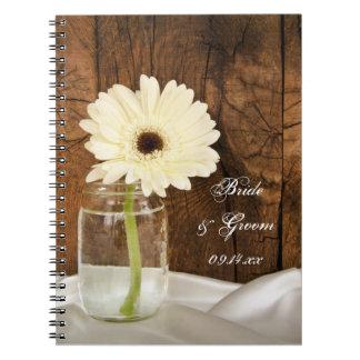 Mason Jar and White Daisy Country Barn Wedding Spiral Notebook