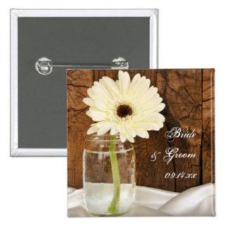 Mason Jar and White Daisy Country Wedding Button