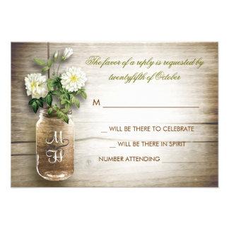 Mason jar and white flowers wedding RSVP card