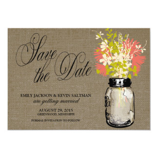 Mason Jar and Wildflowers Save the Date Card